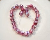 25 6mm czech fuschia/pink and silver faceted glass beads jewelry supplies .. BOX 21a