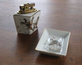 Lefton Hand Painted Ashtray and Lighter 1950s