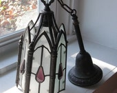 Vintage Gothic Hanging Pendant Light with Amethyst Glass Bling
