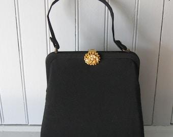 Vintage Black Evening Handbag With Decorative Clasp Gold & Pearls