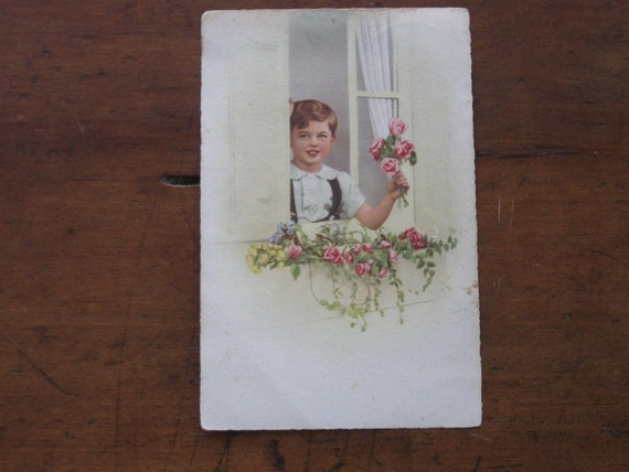 1950 French Child Holding Roses Postcard