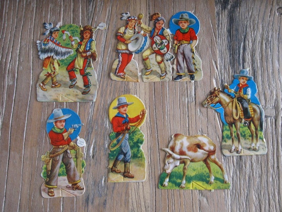 RESERVED DENISEVintage Die Cut Cowboy and Indian Decoupage Scrapbook 3