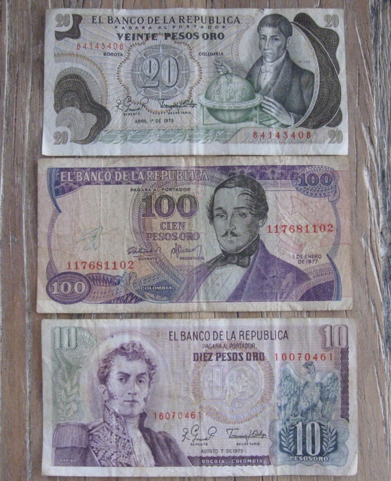 3 Bills of 1970s Columbian Paper Currency