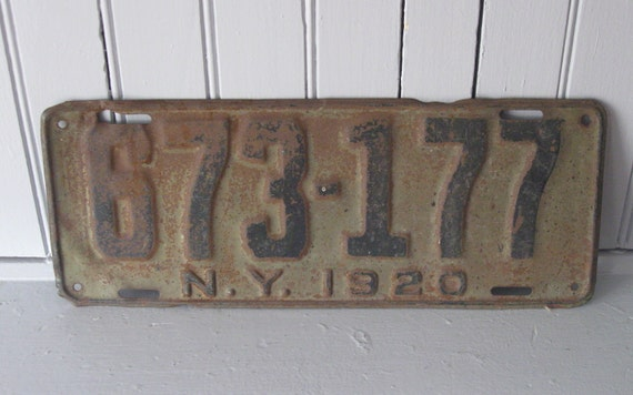 1920 New York State Car License Plate