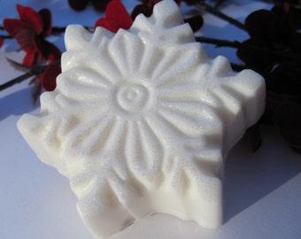 Holiday Glitter Snowflake Soap, Christmas Soap, Stocking Stuffers, Christmas Soap Gift