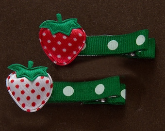 set of 2 strawberry hair clips