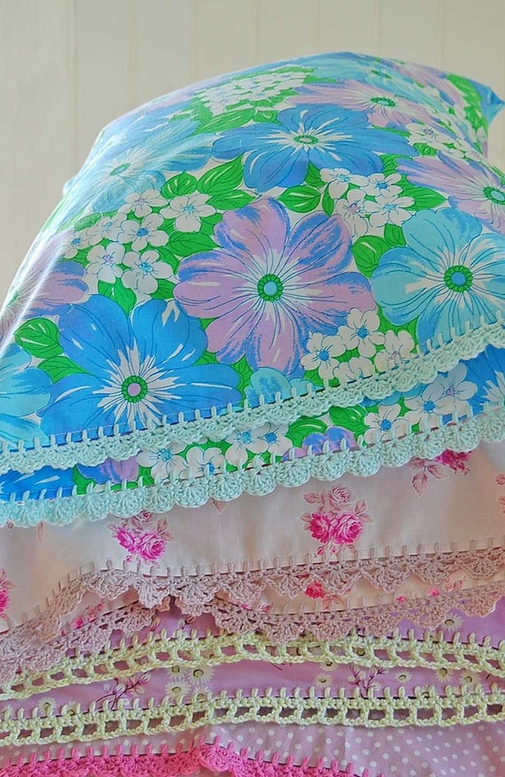 RESERVED LISTING for KRISTIN -  3 pillowcases with crochet trim -  2 Daisy Fresh and 1 Too Sweet (pink)
