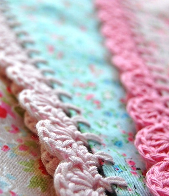 pillowcase with crochet trim  - Too Sweet (aqua)
