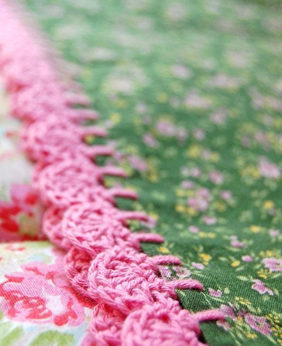 pillowcase with crochet trim  - Calico Dreams