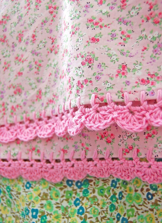 pillowcase with crochet trim  - Too Sweet (pink)