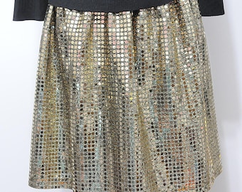 Gold Black Sequin Knit Skirt sz 8 to 10