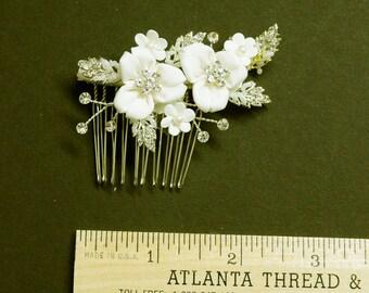 Matte Champagne Satin Flowers Rhinestone Comb Bridal  Wedding