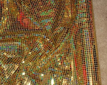 Hologram Sequin Knit  44 wide 1 yd. Gold  ... pageant, costume, decor, crafts