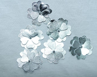 Silver Pleather flowers 6 count pageant headband purse