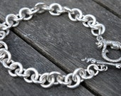 Sterling Silver Round Link Charm Bracelet with Cat & Mouse clasp