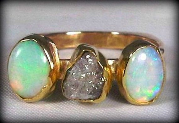 Rough diamond, opal and gold ring