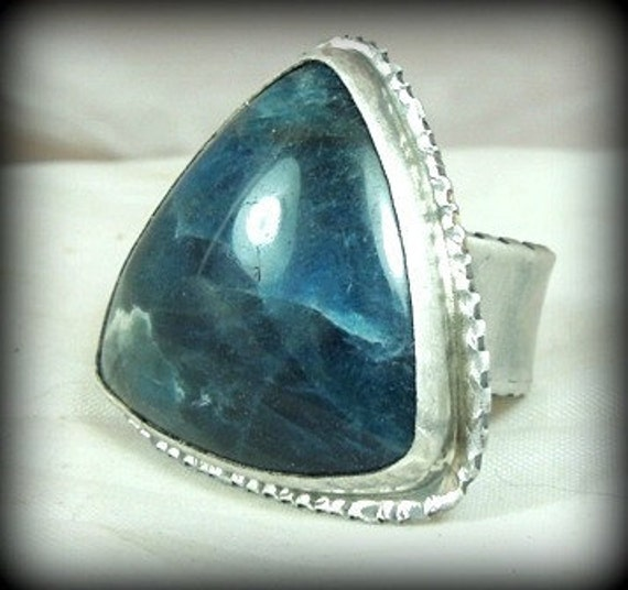 Large Apatite and sterling silver cocktail statement ring