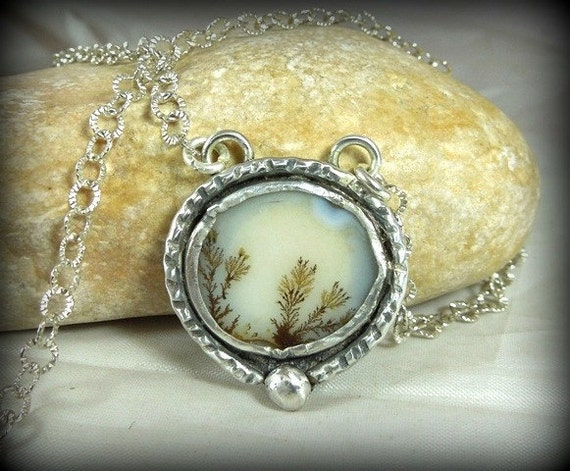dendritic agate and sterling silver artisan pendant necklace