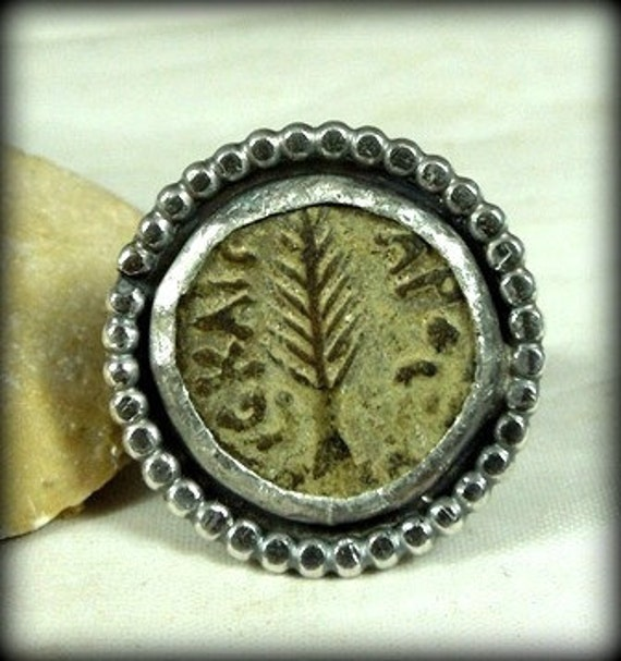 Ancient Jewish Coin Silver statement Ring, genuine ancient coin