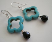 Modern floral Turquoise and Black Onyx Sterling Silver earrings