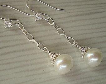 White Freshwater Pearl Sterling Silver Chain dangle linear drop earrings
