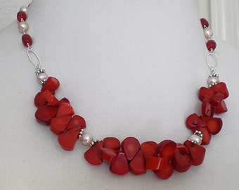 Coral Petals Cluster Freshwater Pearl Sterling Silver Necklace