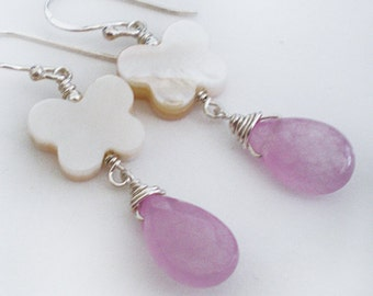 Lavender Pink Jade Butterfly Shell  Sterling Silver earrings