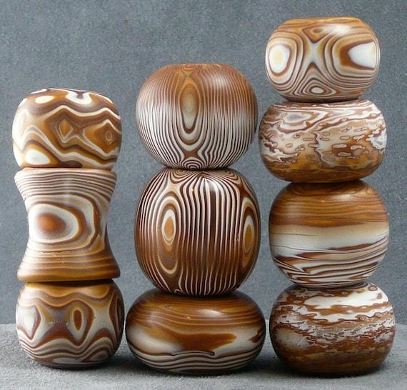 10 Lathe-turned Beads--Coffee and Cream