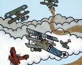 Airplane Monkey Dog Fight 8x10 Art Print