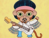Jimi Hendrix Monkey Art Print