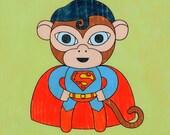Superman Monkey Art Print