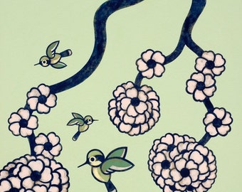 Birds and Blossoms 8x10 Art Print - No 3
