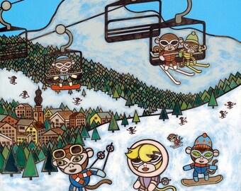 Monkeys on the Ski Slopes 8x10 Art Print