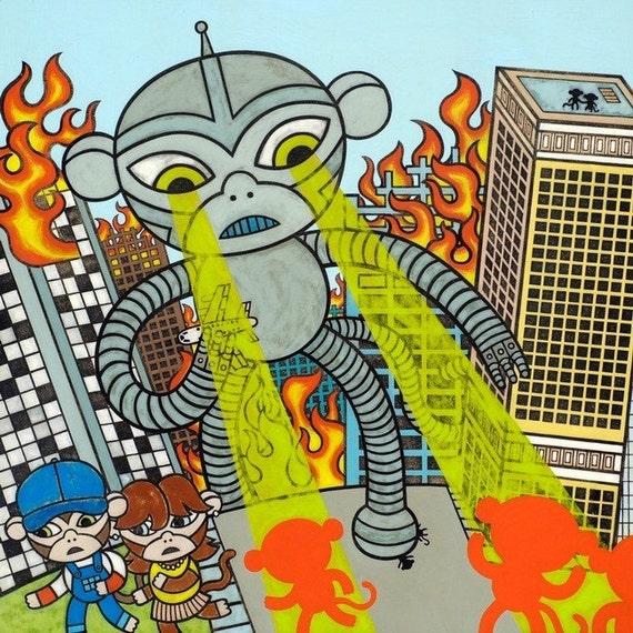 Robot Destruction giclee print by Matthew Porter