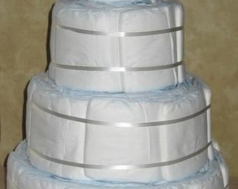 DIY Undecorated 4 tier Designer Diaper Cake for Baby Shower Gift Boy or Girl Plain 80 Diapers