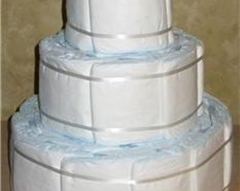 Pampers 3 tier DIY Designer Diaper Cake Undecorated Plain DIY baby shower gift 50 Diapers