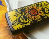 Floral Yellow Mehndi Mandala Bamboo Bead - hand painted