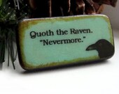 Raven Nevermore Poe Quote Turquoise Blue Reversible Bead Pendant polymer clay handmade