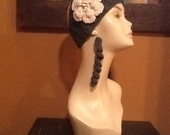 Grey Crochet Headband & Flower / with matching Earrings