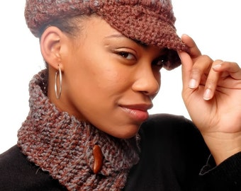 Crocheted Hat and Neckwarmer - Winter's Warmth - Brown and Grey Blend