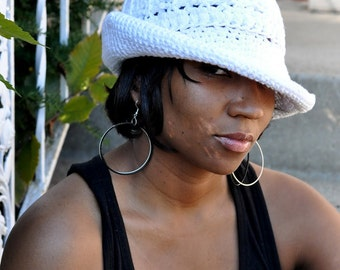White Cotton  Brimmed Hat - Custom Colors