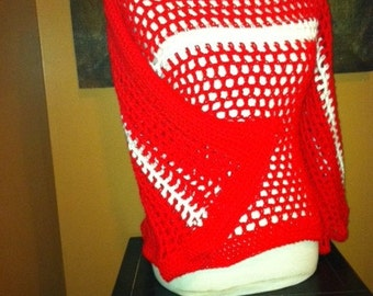Red and White Pullover Open Weave Sweater - Sorority Colors available - Crochet - Delta Sigma Theta Sorority