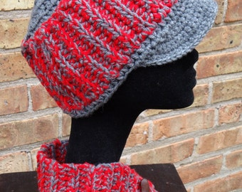 Red/Gray Newsboy Set - Cap, Neckwarmer & Wristwarmers
