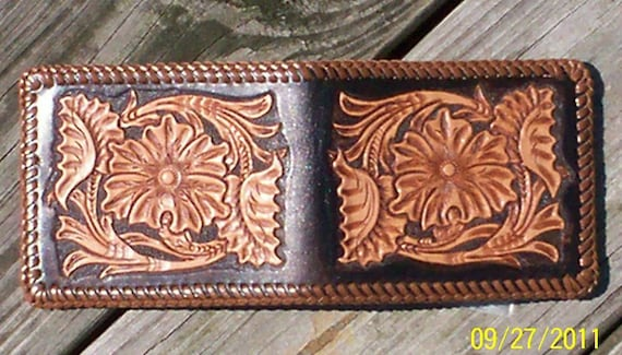 Hand carved and tooled sheridan style wallet