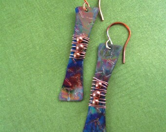 HAMMERED STICKS  Copper Earrings - Flame Kissed, art jewelry, gifts for women