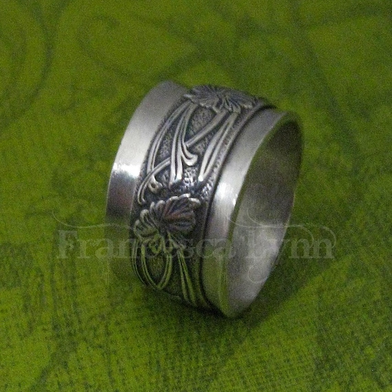 Meditation Ring Sterling Silver With Spinning Floral Band