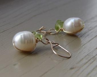 Pearl Earrings, Sea Fruit earrings, Pearl Dangle Earrings, Silver Or Gold Earrings