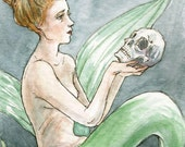 "Mermaid Siren ACEO ""Of His Bones Are Coral Made"" Limited Edition Print by Amy Abshier Reyes 29/30"