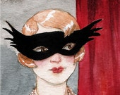 "Flapper Mask Masquerade Party Flapper Girl Portrait ""At the Masked Ball"" Limited Edition Print by Amy Abshier Reyes 10/50"