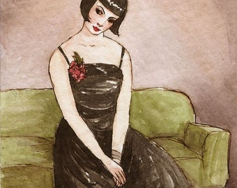 "Art Deco Flapper ACEO ""Butter Wouldn't Melt in Her Mouth"" Limited Edition Print by Amy Abshier Reyes 24/30"